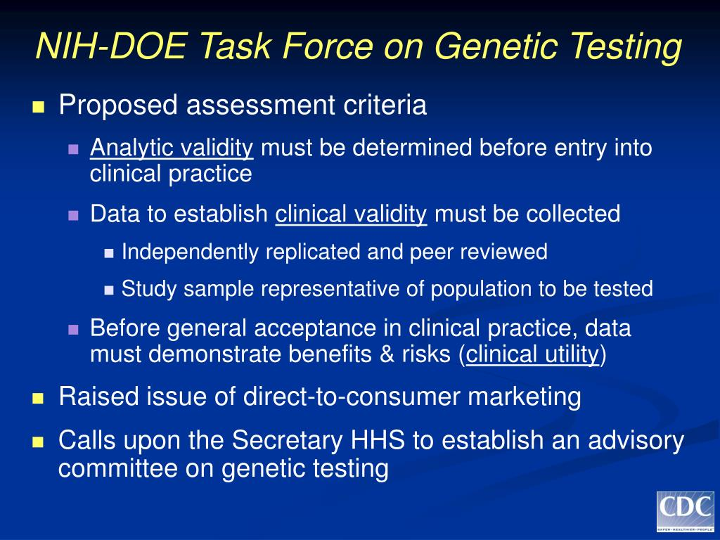NIH-DOE Task Force on Genetic Testing