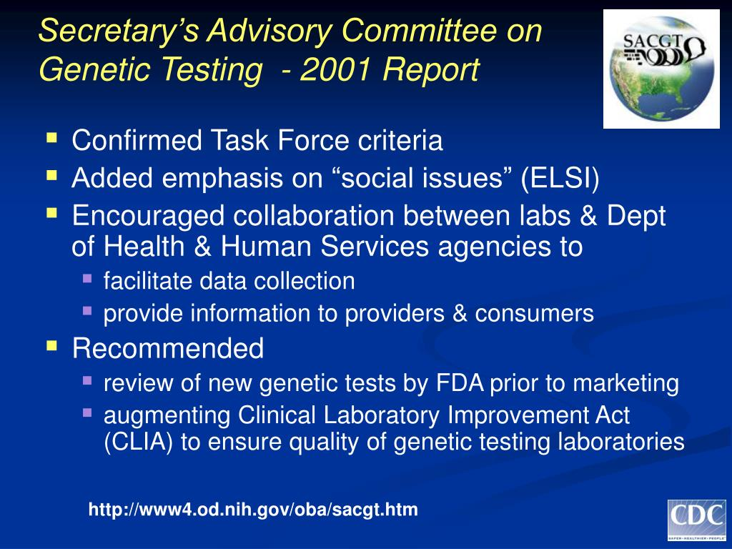Secretary's Advisory Committee on Genetic Testing  - 2001 Report
