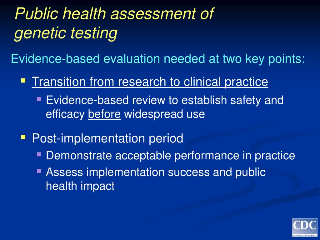 Public health assessment of