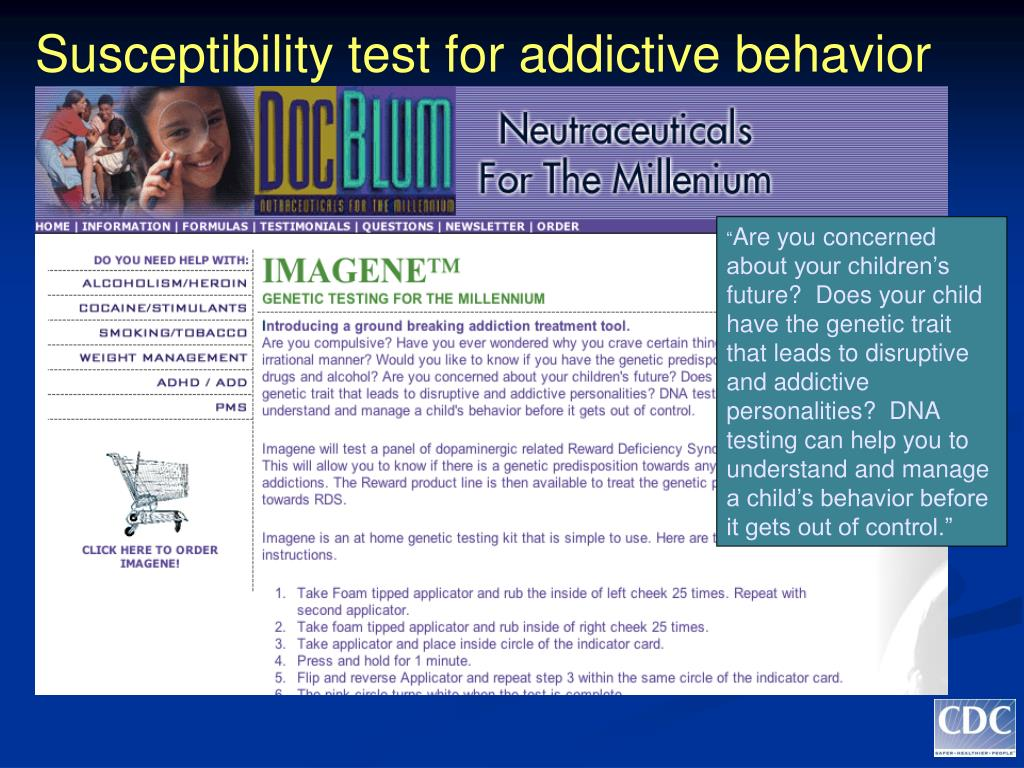 Susceptibility test for addictive behavior