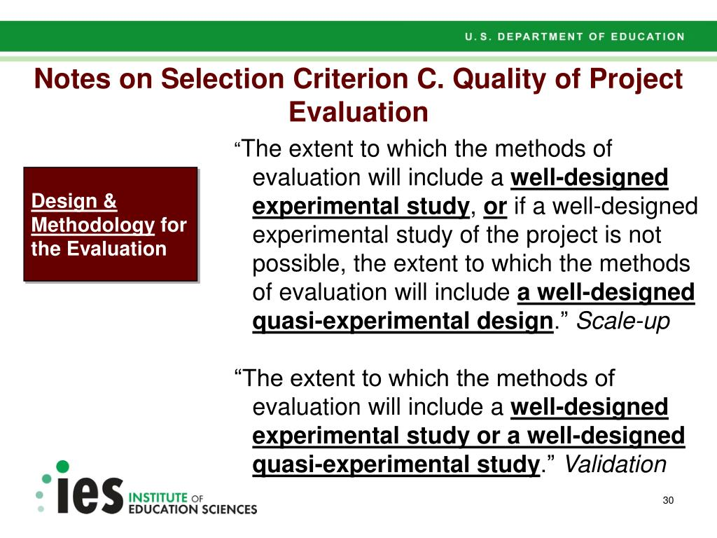 Notes on Selection Criterion C. Quality of Project Evaluation