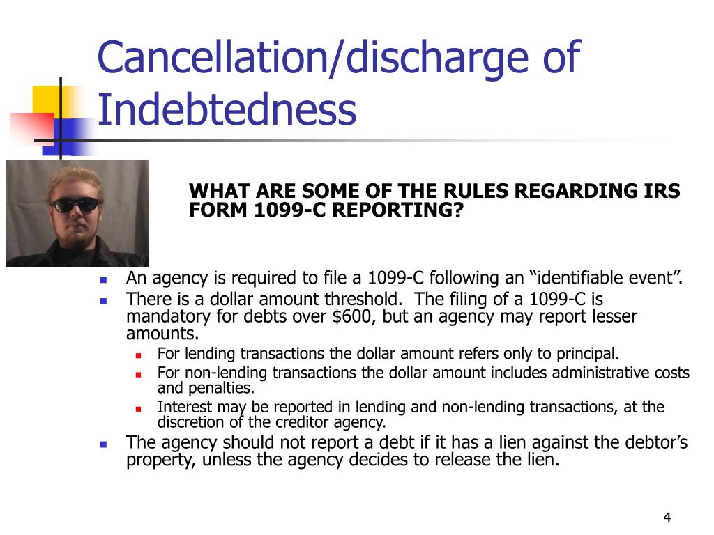 Cancellation/discharge of Indebtedness