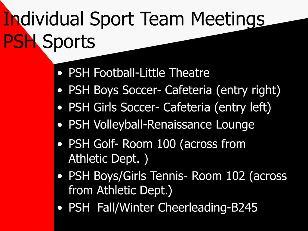 Individual Sport Team Meetings PSH Sports