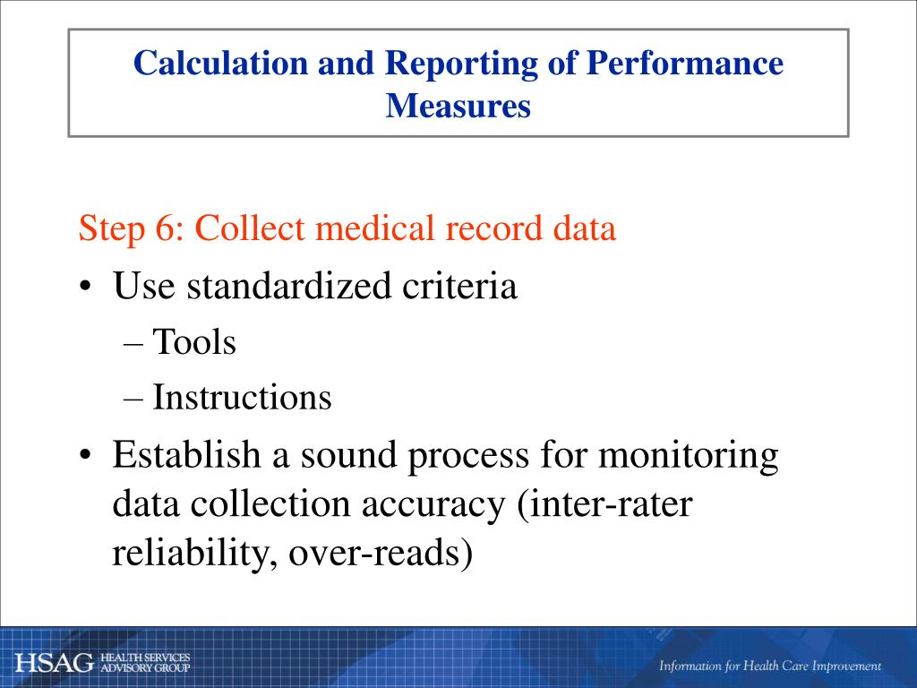 Calculation and Reporting of Performance Measures