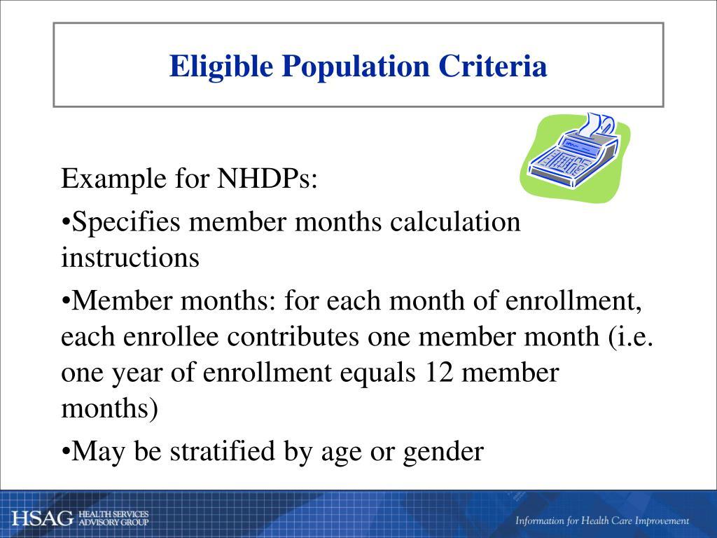 Eligible Population Criteria