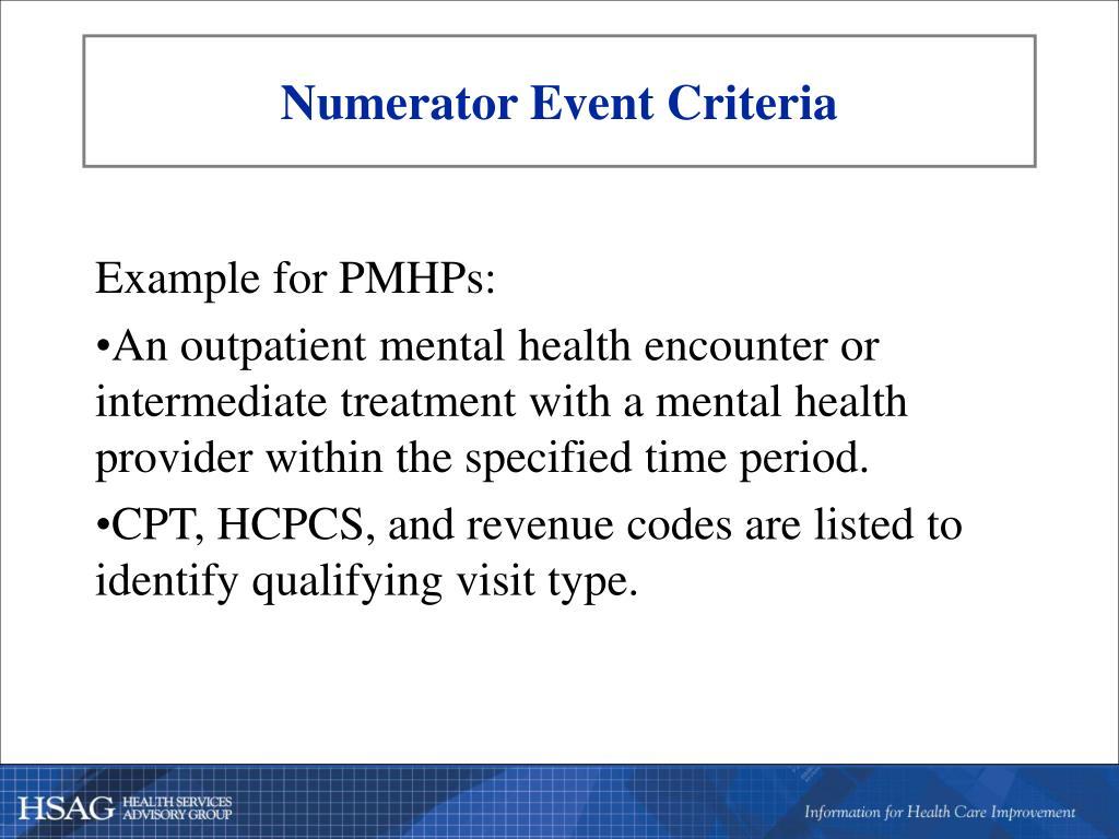 Numerator Event Criteria