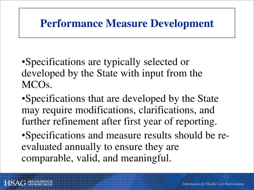 Performance Measure Development