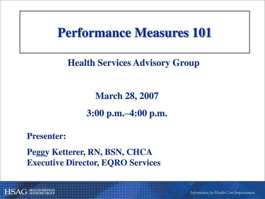 Performance Measures 101