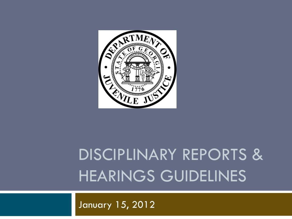 Disciplinary reports & Hearings guidelines