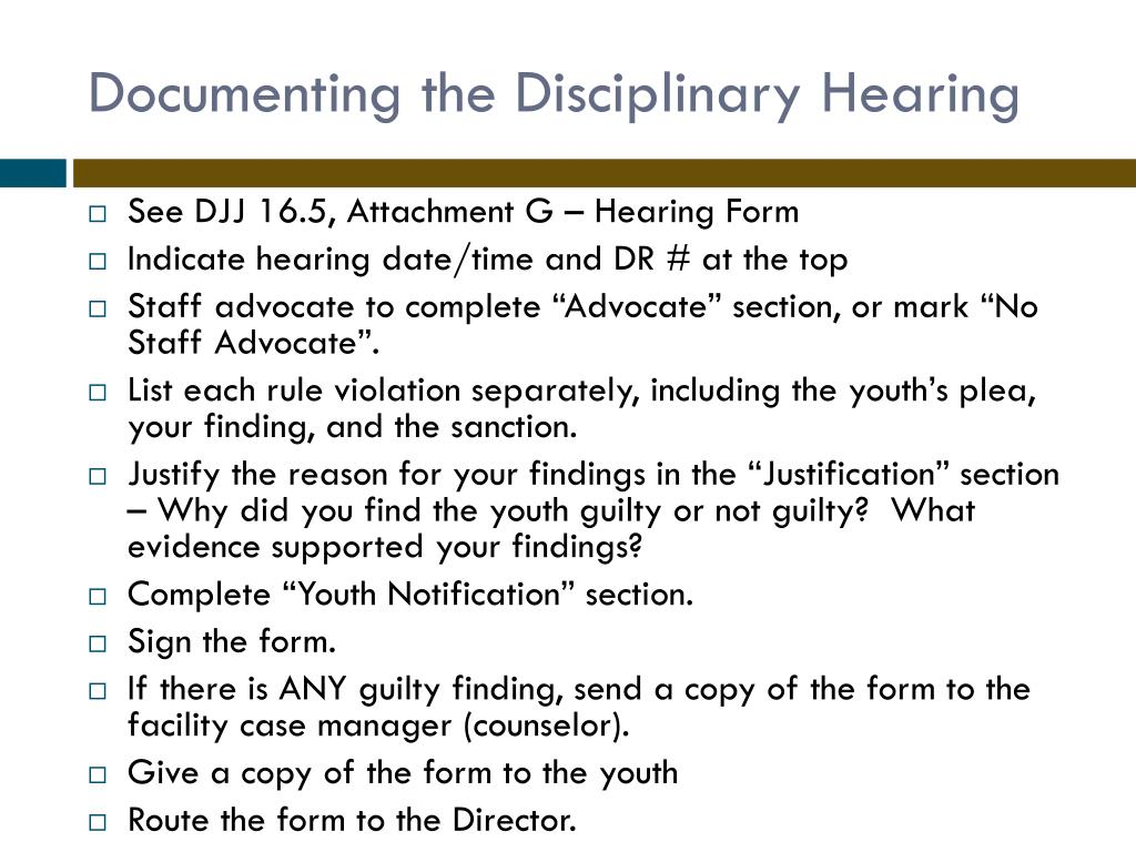 Documenting the Disciplinary Hearing