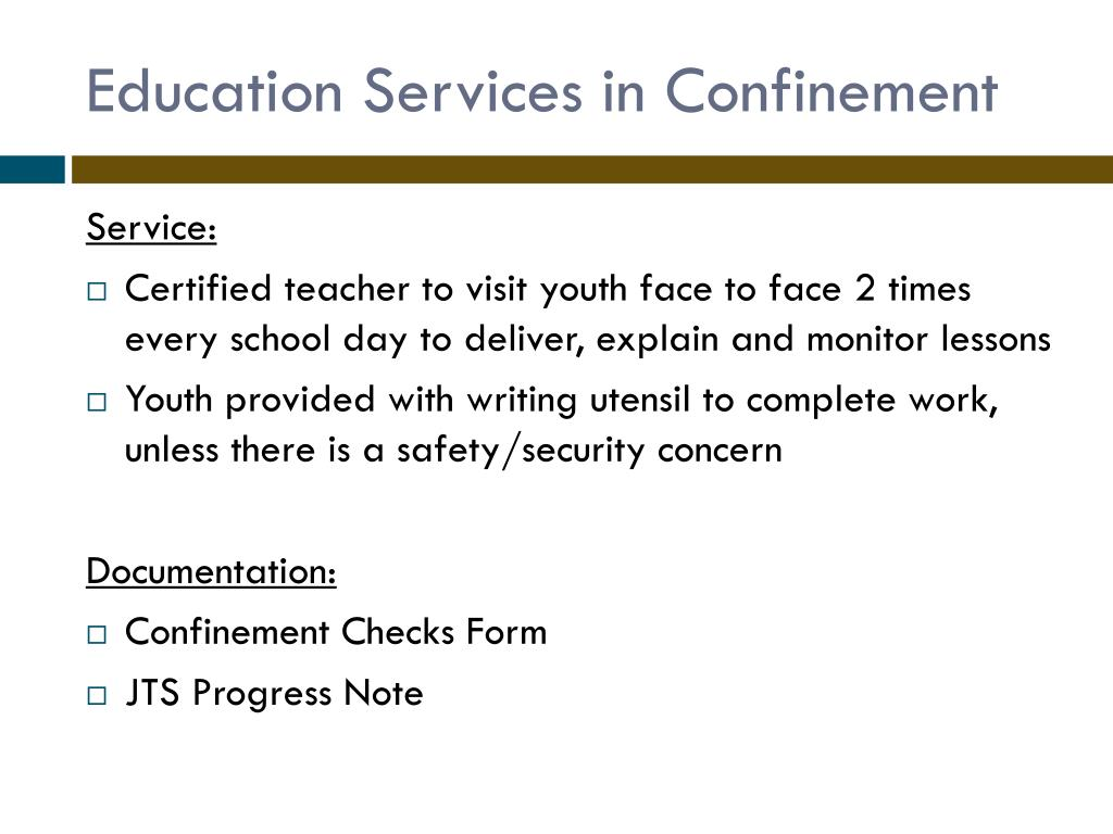 Education Services in Confinement