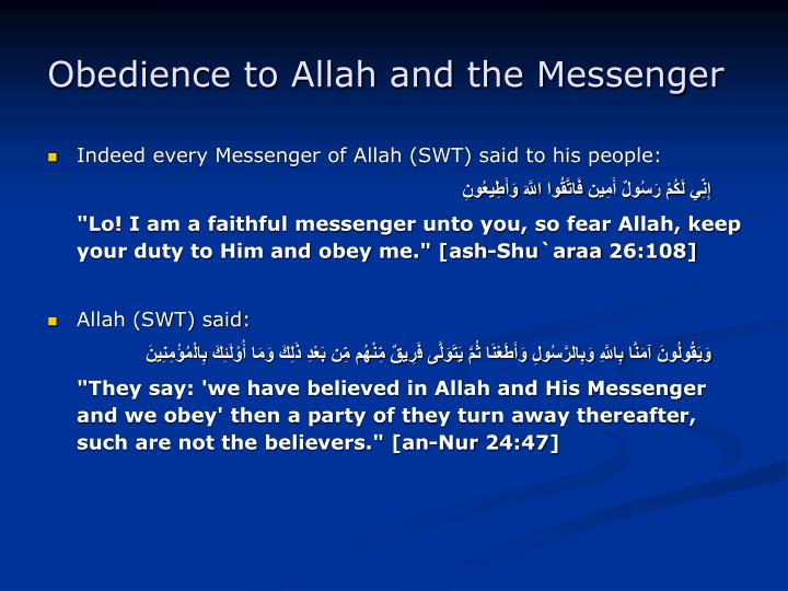 Obedience to Allah and the Messenger