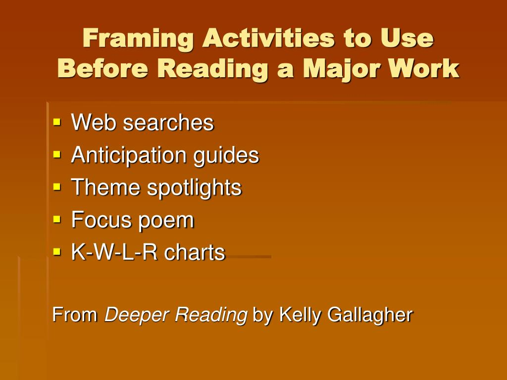 Framing Activities to Use