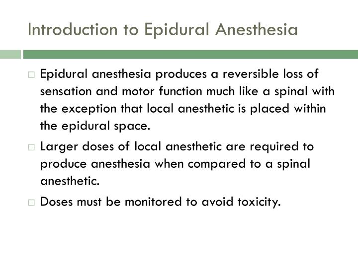 Introduction to epidural anesthesia