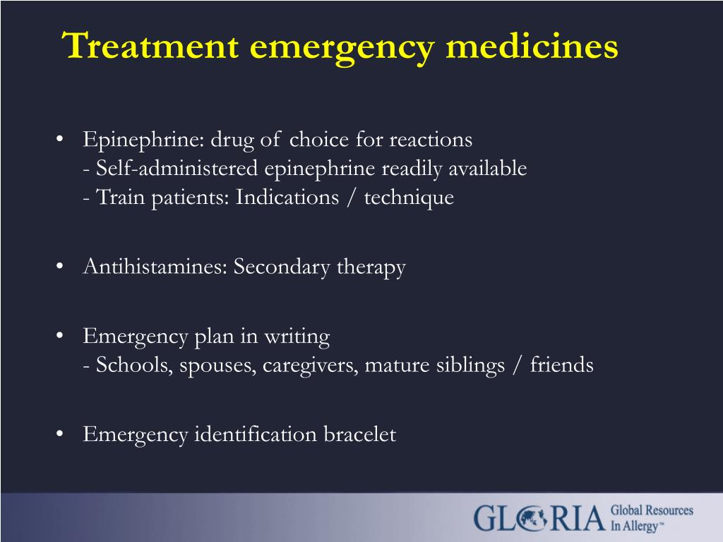 Treatment emergency medicines