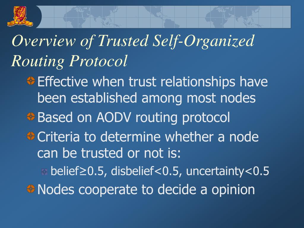 Overview of Trusted Self-Organized