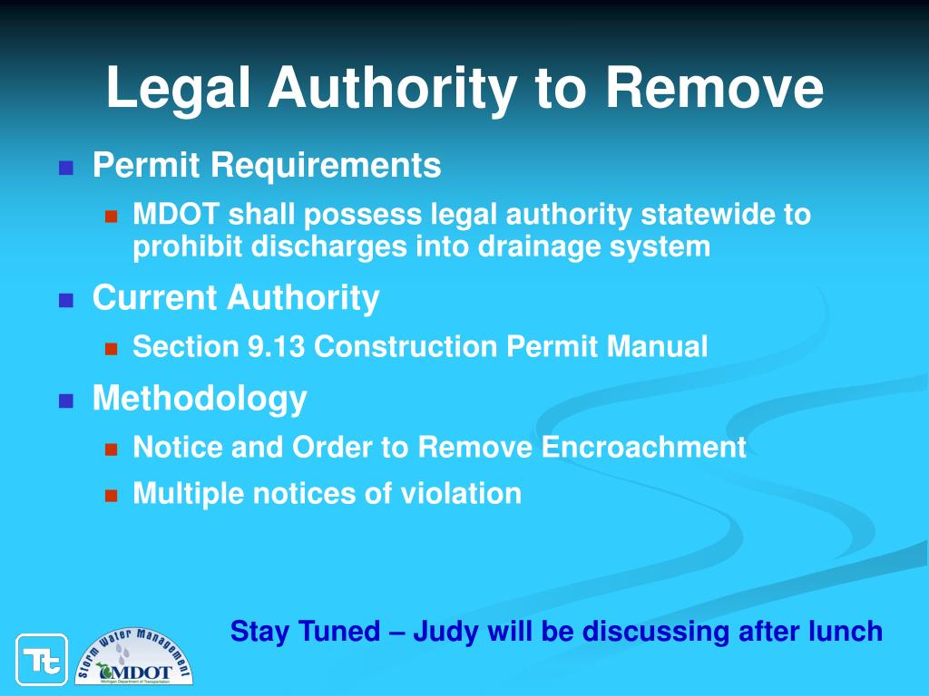 Legal Authority to Remove