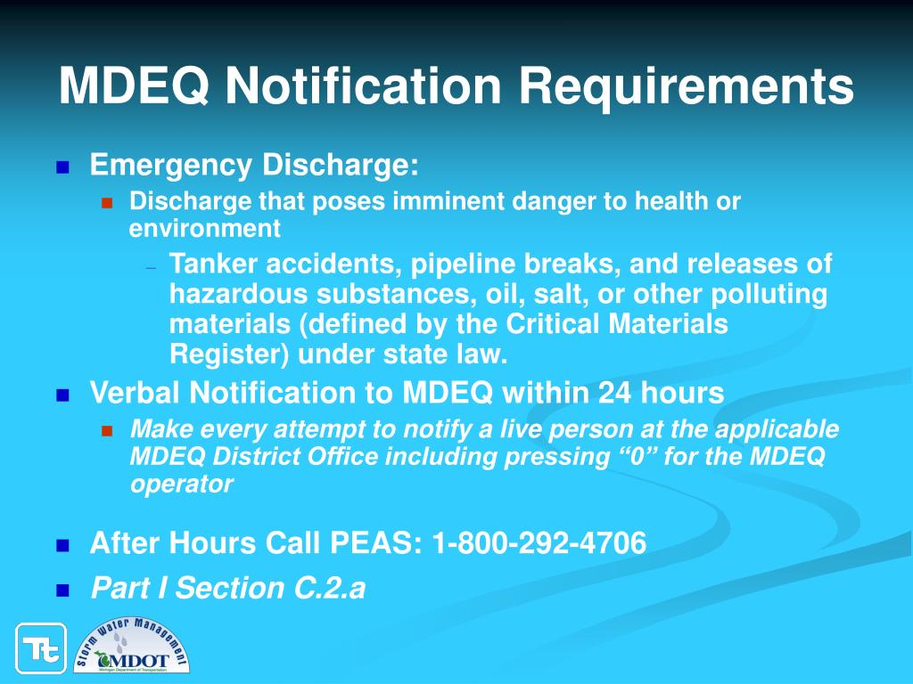 MDEQ Notification Requirements