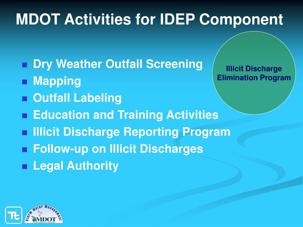 MDOT Activities for IDEP Component
