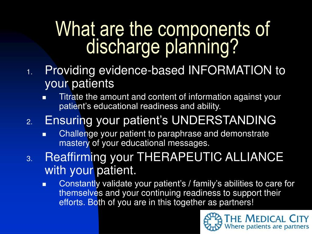What are the components of discharge planning?