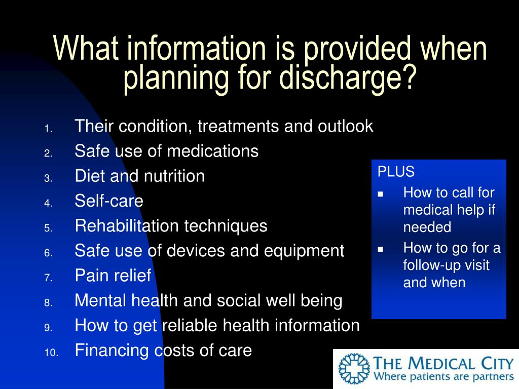 What information is provided when planning for discharge?