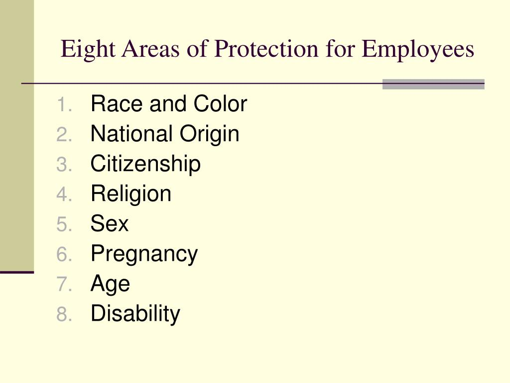 Eight Areas of Protection for Employees