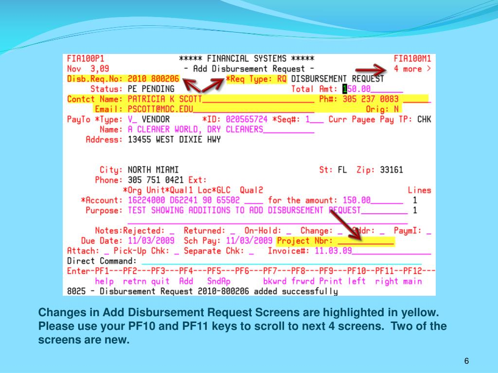 Changes in Add Disbursement Request Screens are highlighted in yellow.