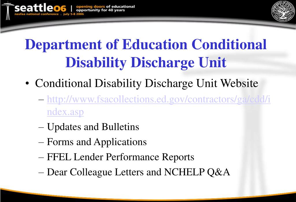 Department of Education Conditional Disability Discharge Unit