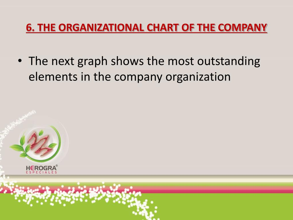 6. THE ORGANIZATIONAL CHART OF THE COMPANY
