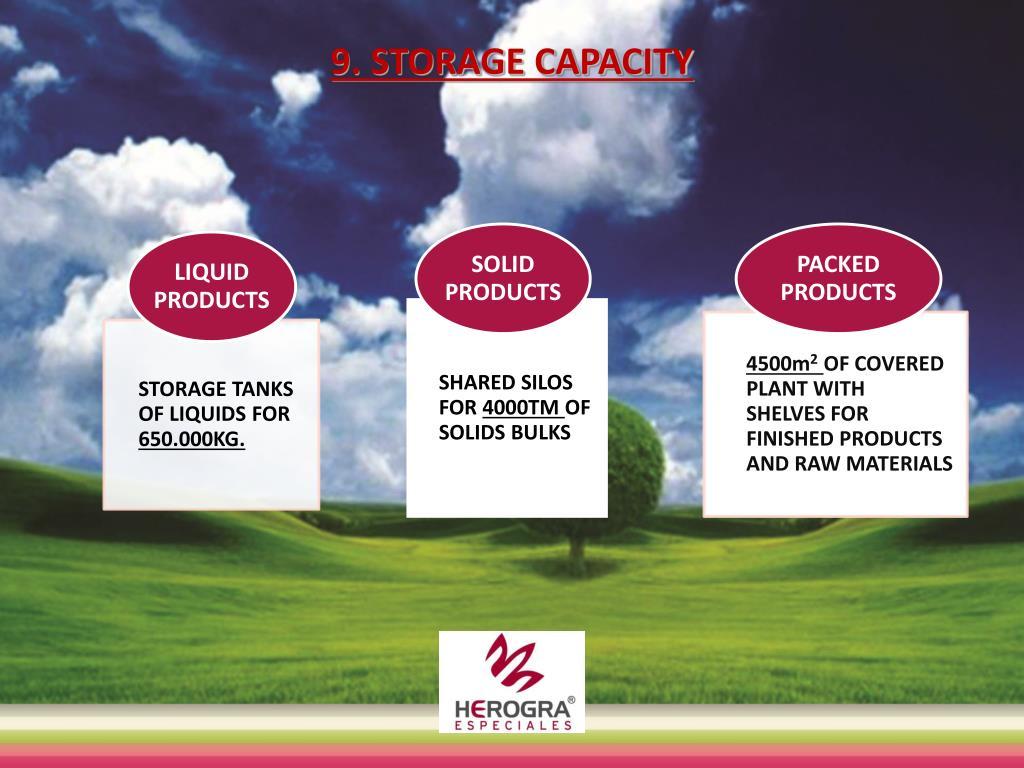 9. STORAGE CAPACITY