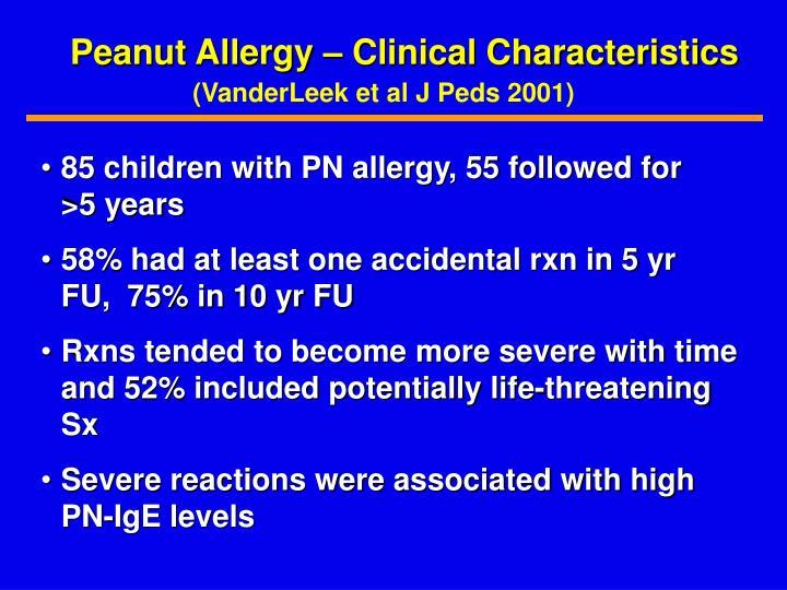 Peanut Allergy – Clinical Characteristics