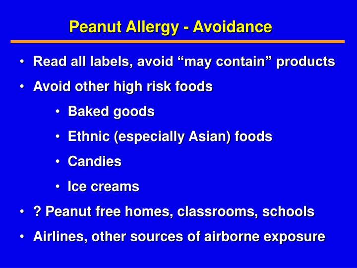 Peanut Allergy - Avoidance