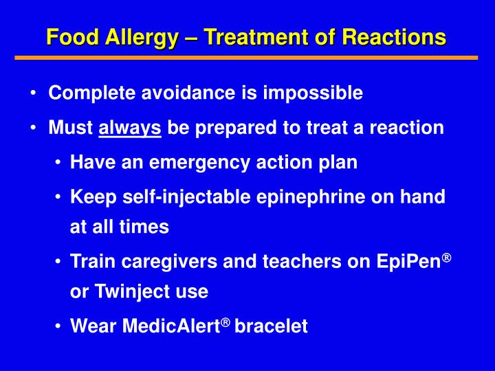 Food Allergy – Treatment of Reactions