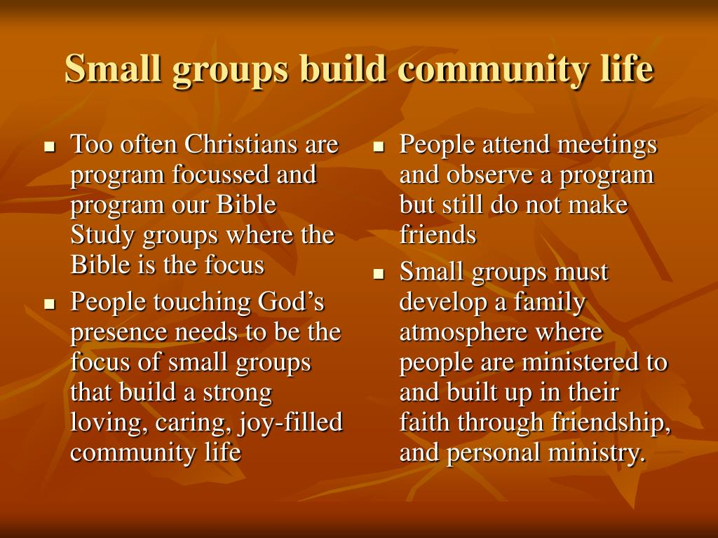 Too often Christians are program focussed and program our Bible Study groups where the Bible is the focus
