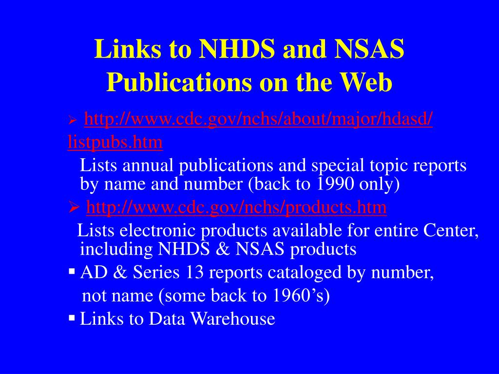 Links to NHDS and NSAS