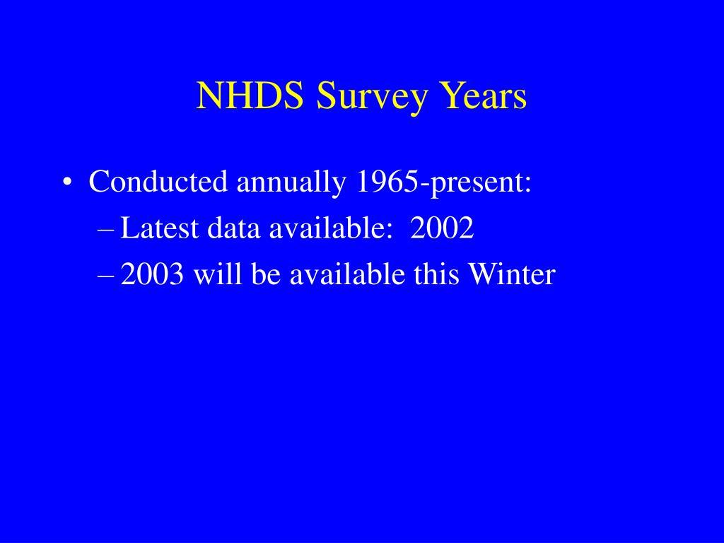 NHDS Survey Years