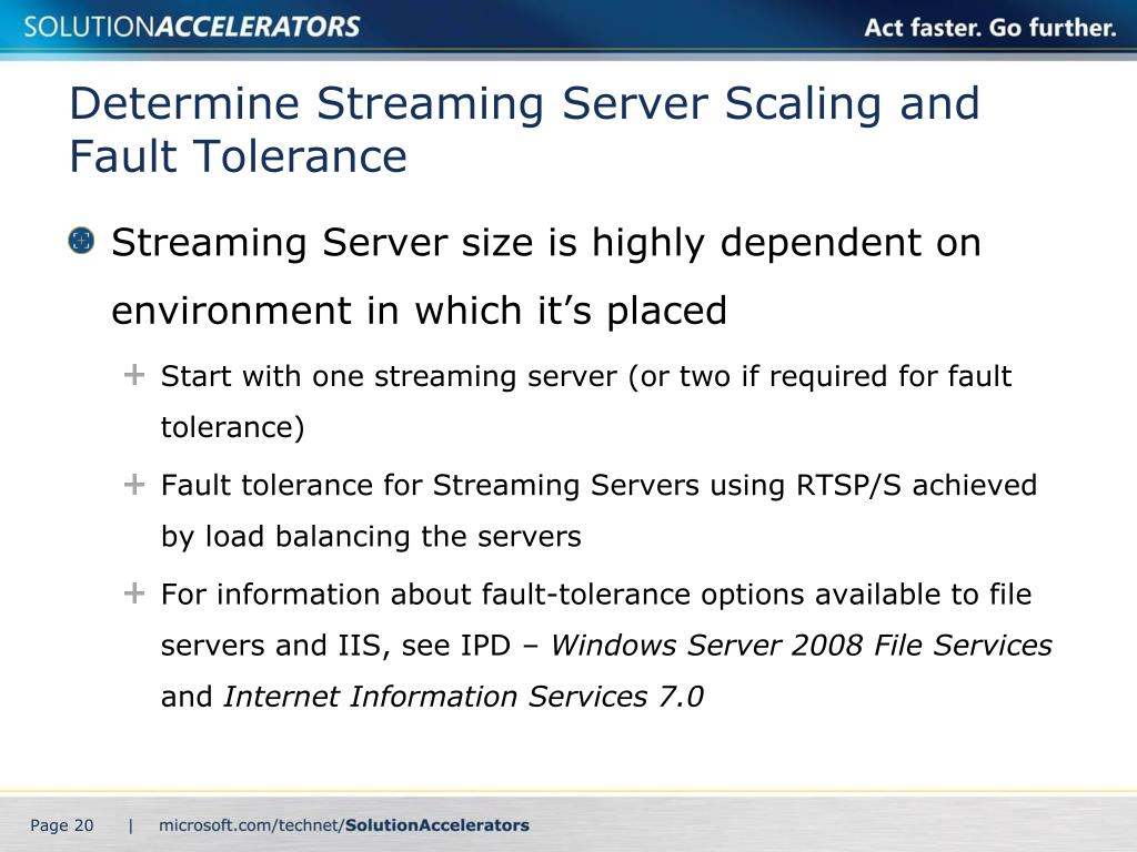 Determine Streaming Server Scaling and Fault Tolerance
