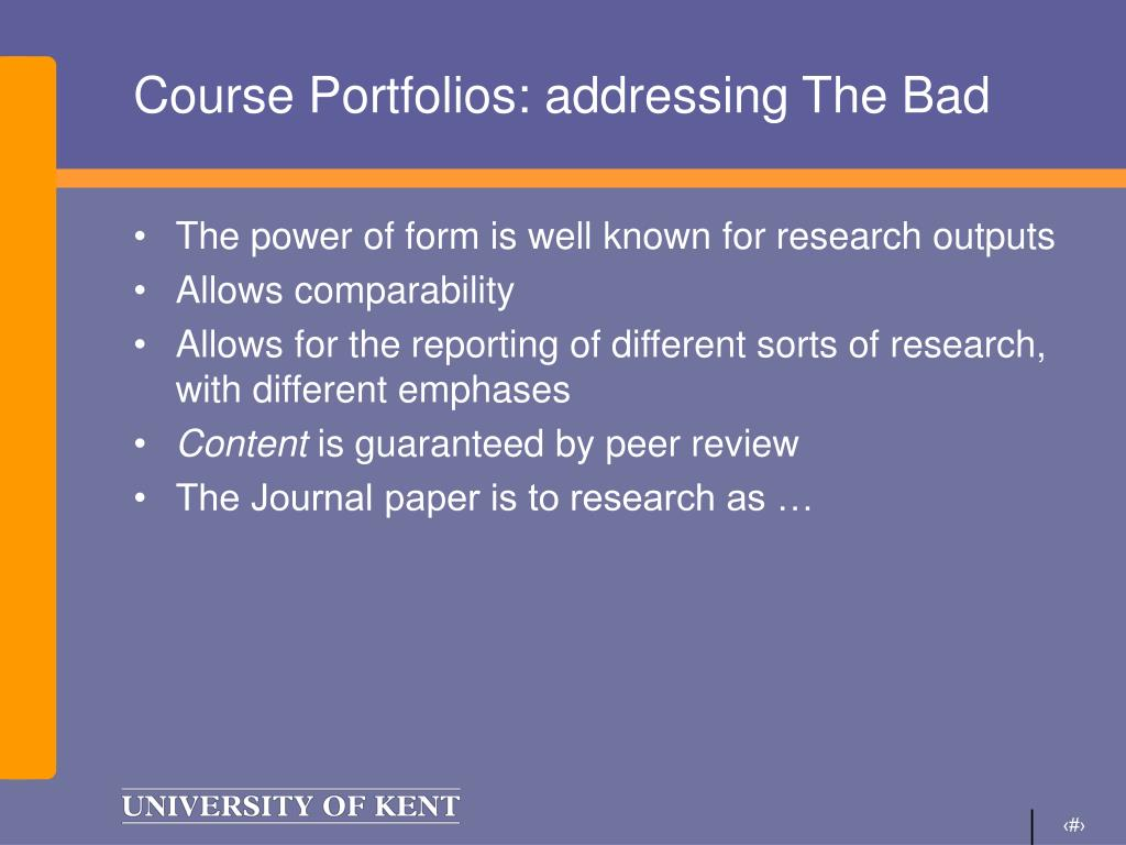 Course Portfolios: addressing The Bad