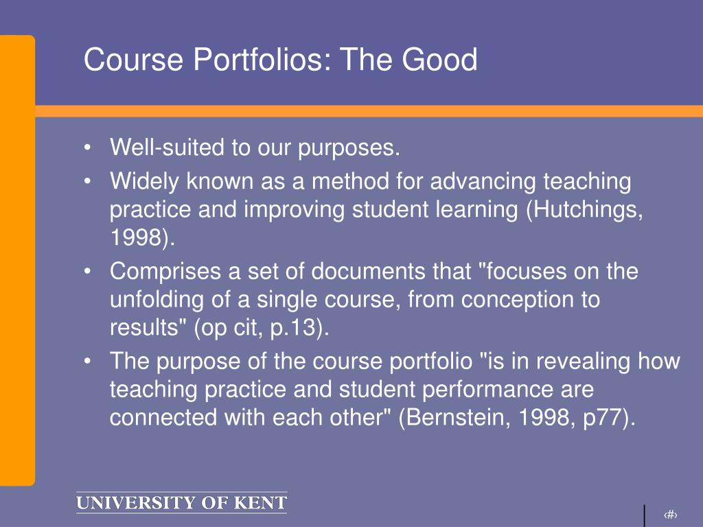 Course Portfolios: The Good