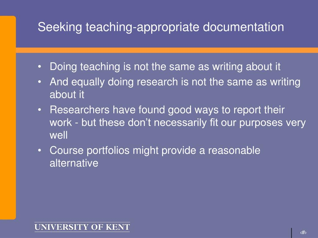 Seeking teaching-appropriate documentation