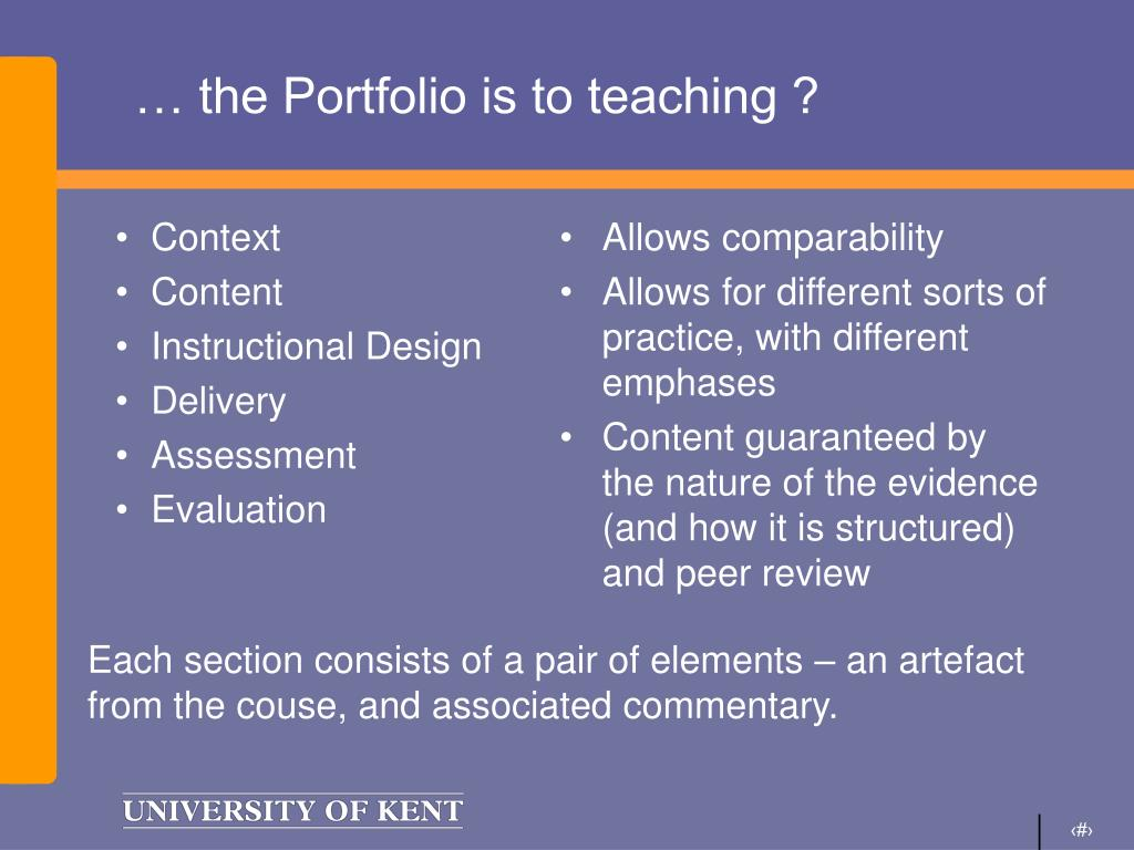 … the Portfolio is to teaching ?