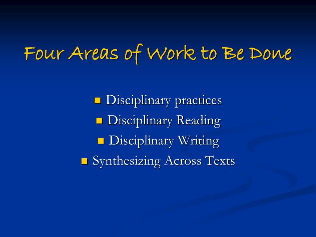 Four Areas of Work to Be Done