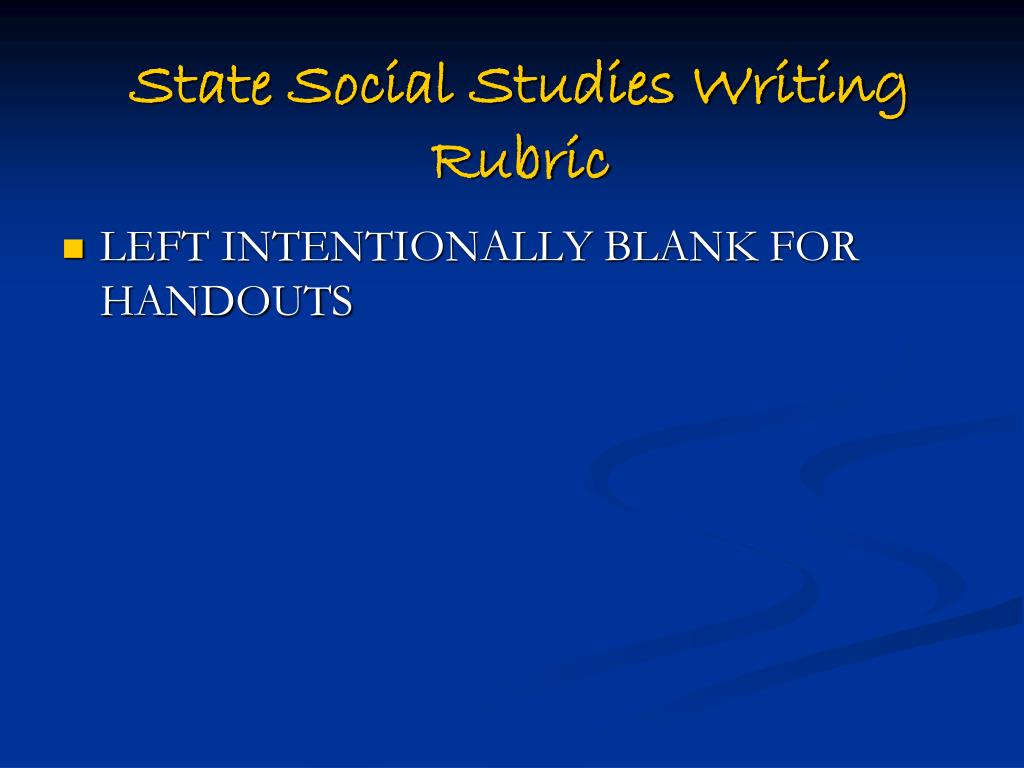 State Social Studies Writing Rubric