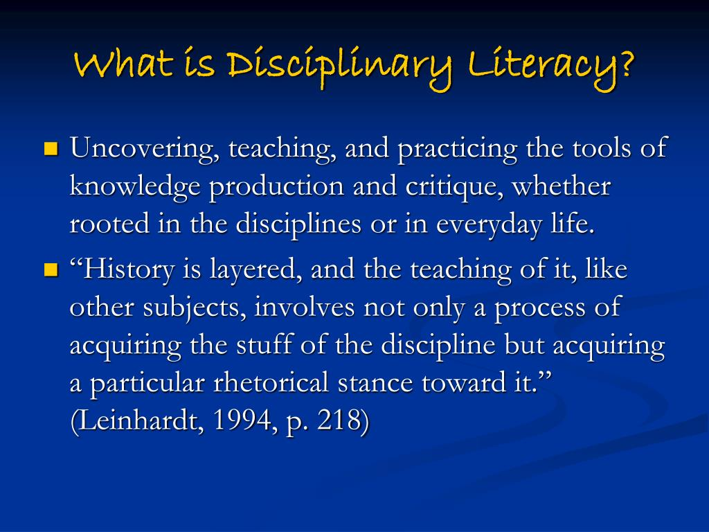 What is Disciplinary Literacy?