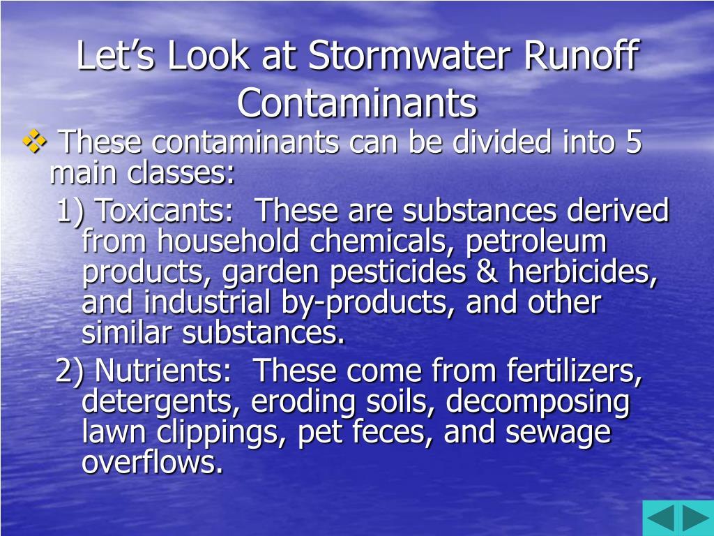 Let's Look at Stormwater Runoff Contaminants