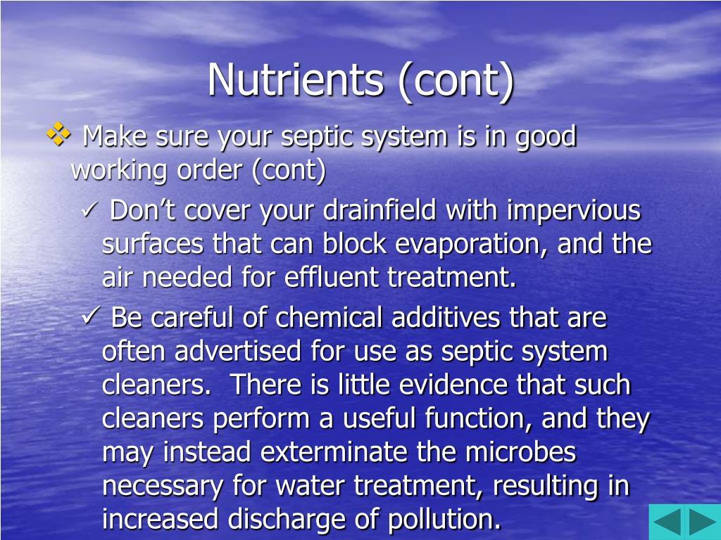 Nutrients (cont)