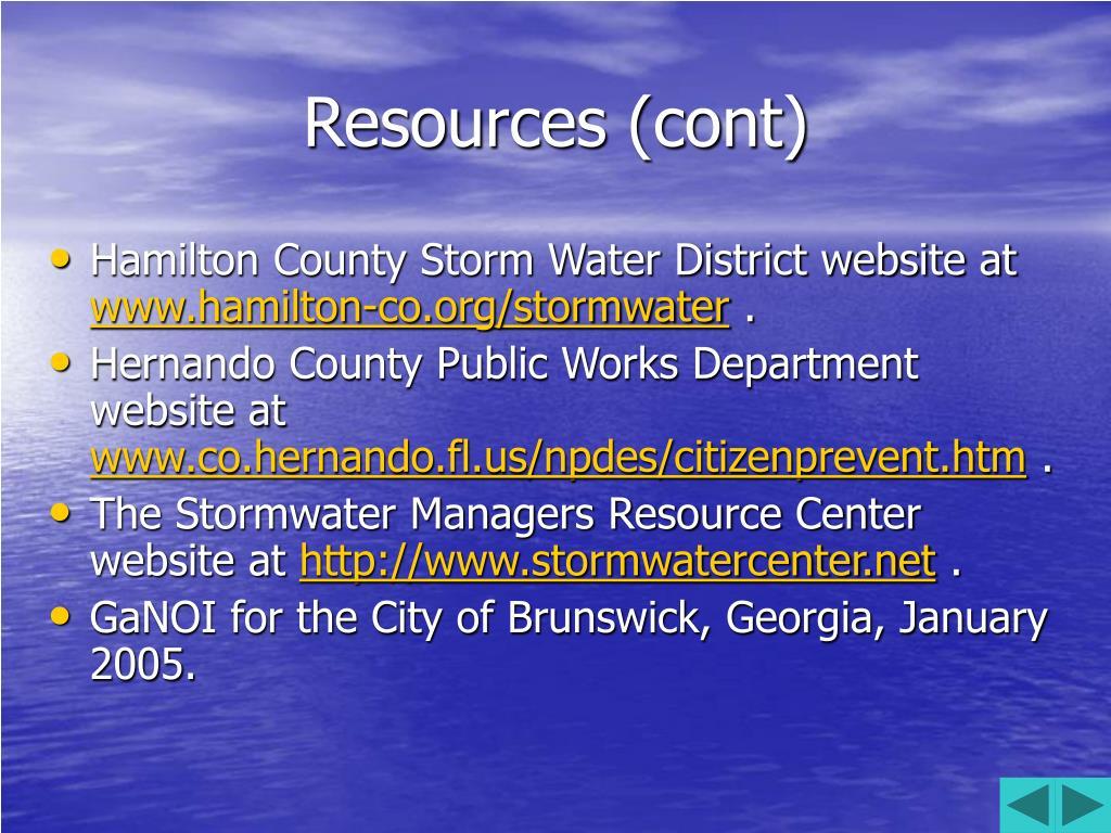 Resources (cont)