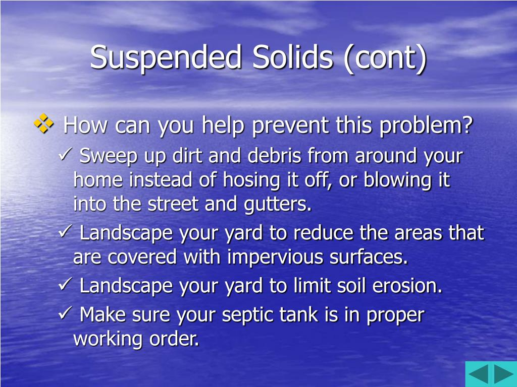 Suspended Solids (cont)