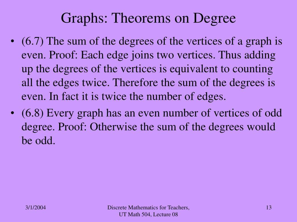 Graphs: Theorems on Degree