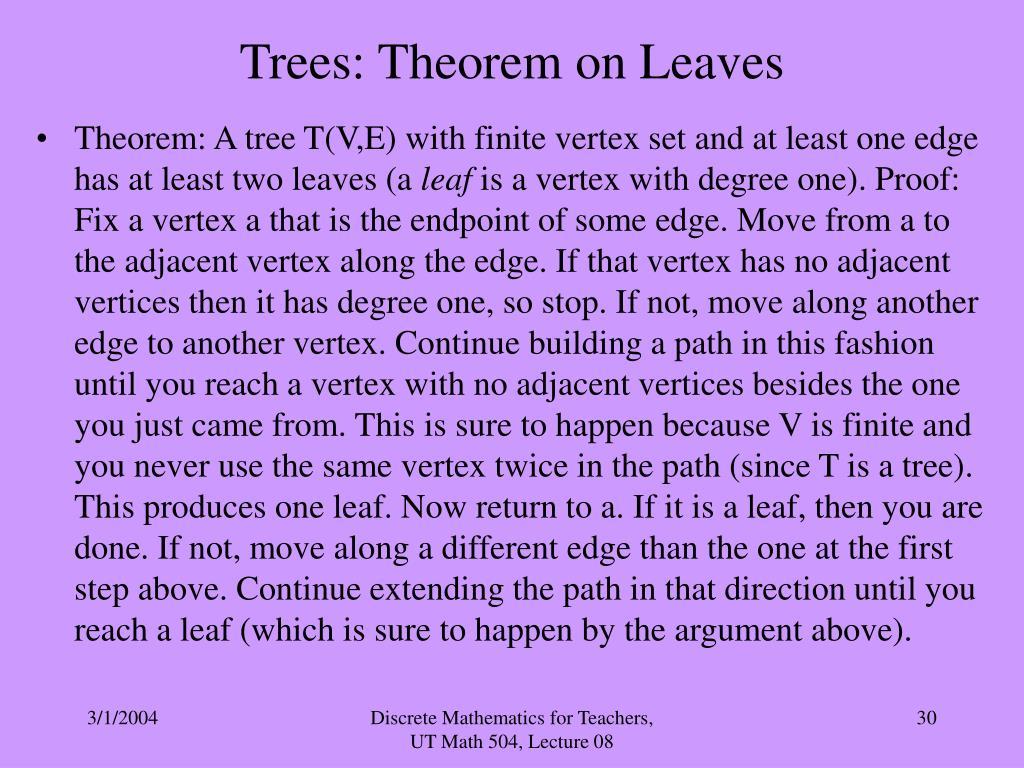 Trees: Theorem on Leaves
